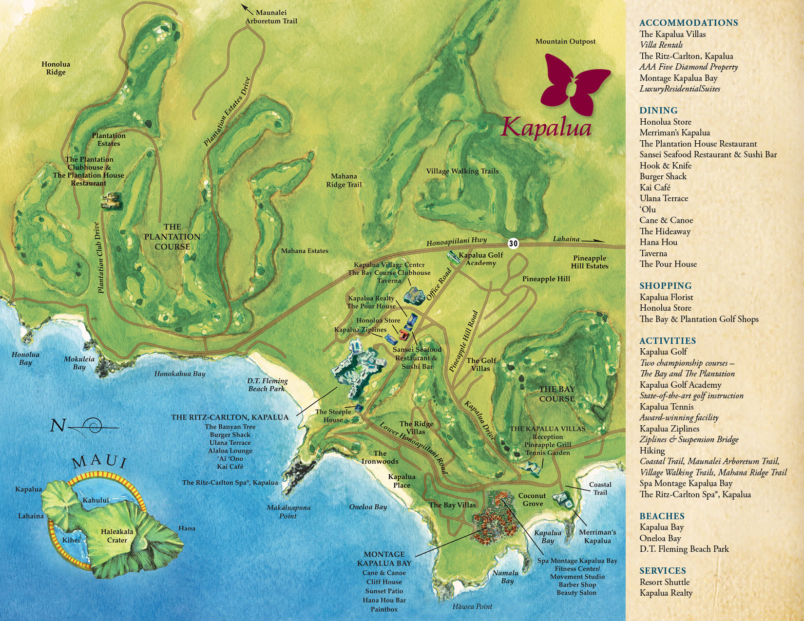 Map | Kapalua Resort Bay Area Golf Courses Map on